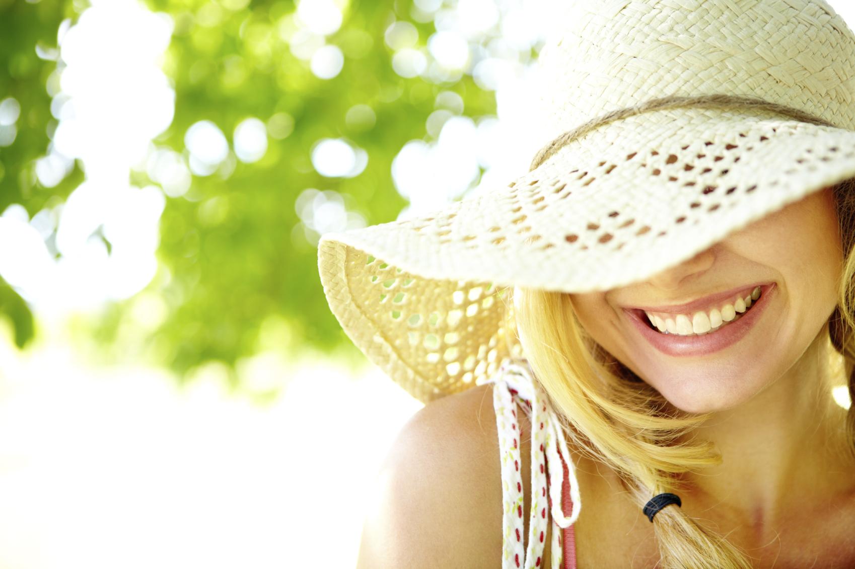 Caucasian woman sun hat